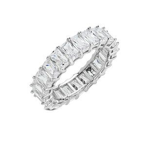 Sterling Forever Silver CZ Ring Eternity Band SZ 9
